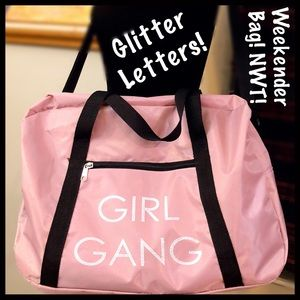 Handbags - NWT Pink Girl Weekender Bag with Glitter Letters